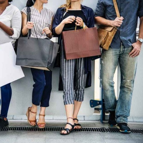 Customers holding shopping bags