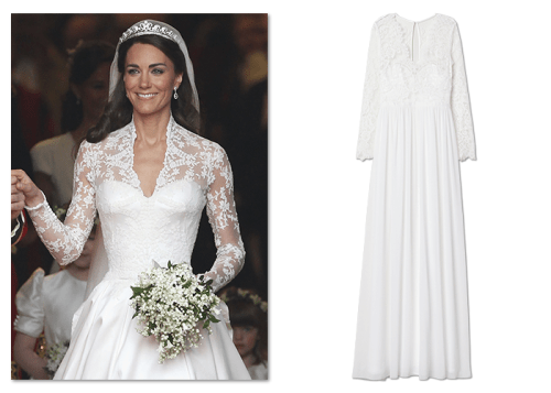 Royal fashion wedding dress worn by Kate Middleton sold at H&M