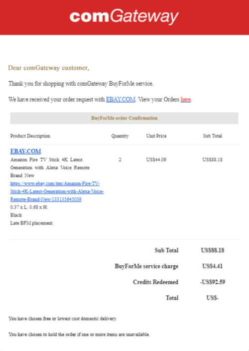 BuyForMe email- order confirmation
