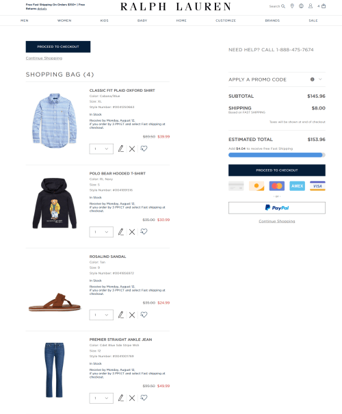 screenshot of Ralph Lauren US online store's checkout page
