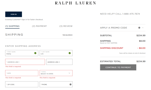 Ralph Lauren checkout failed