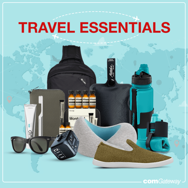 Travel packing list blog cover featuring travel items