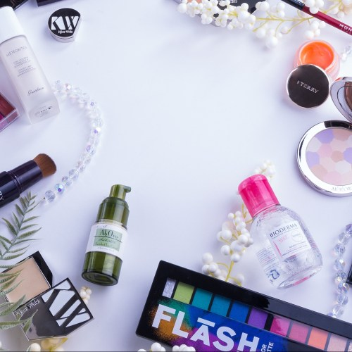 various makeup and skincare products
