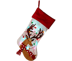 Glitzhome Reindeer Christmas Stockings LED