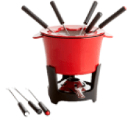 Crate & Barrel Red Cast Iron Fondue Set