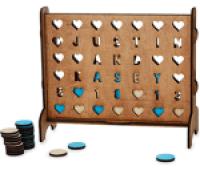 Kasey & Justin Pearson Personalized Hearts Four-Across Game