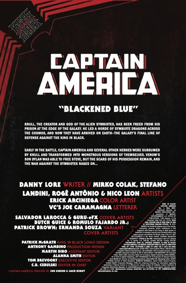 King in Black: Captain America #1 P1