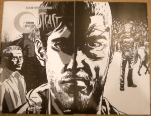 Walking Dead #144 & Outcast #10 Black and White Connecting Variants