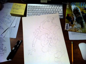 Franco's art desk with a Nightcrawler sketch.