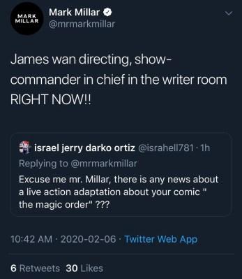 Millar Tweet about Magic Order