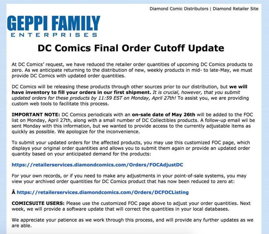 DC Comics Diamond Cancel