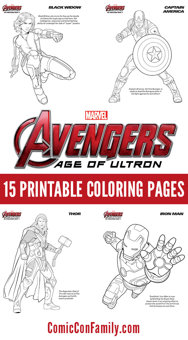 Avengers Printable Coloring Pages : avengers, printable, coloring, pages, Printables:, Marvel's, Avengers:, Ultron, Coloring, Pages, Comic, Family