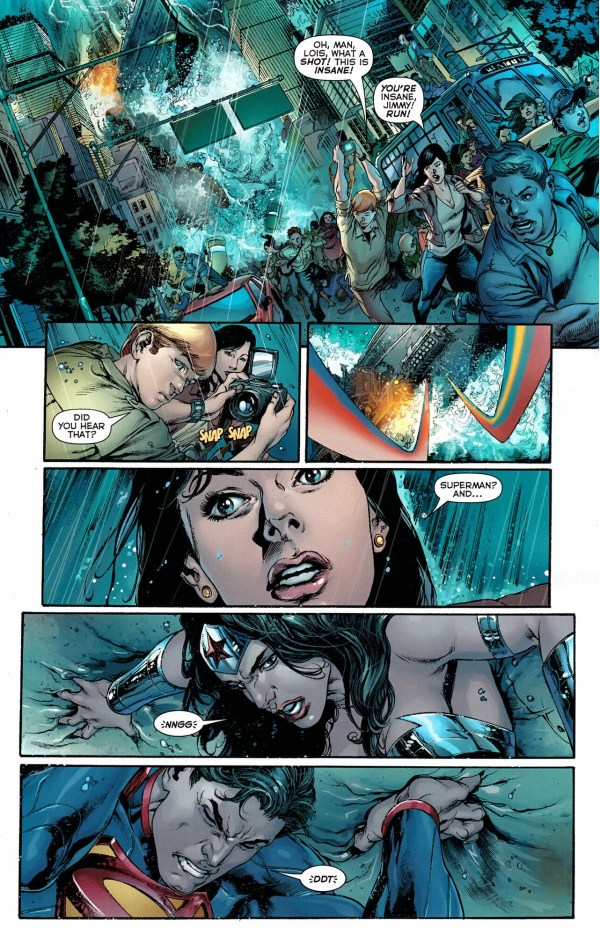 superman and wonder woman lifts an aircraft carrier