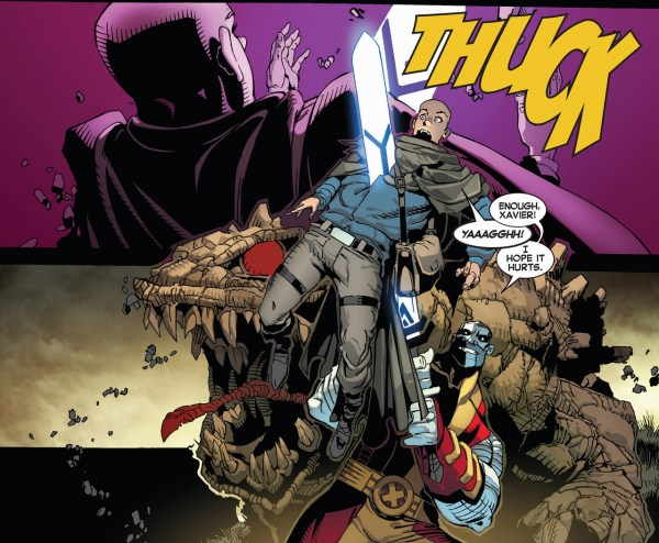 colossus stabs charles xavier II with a soul sword