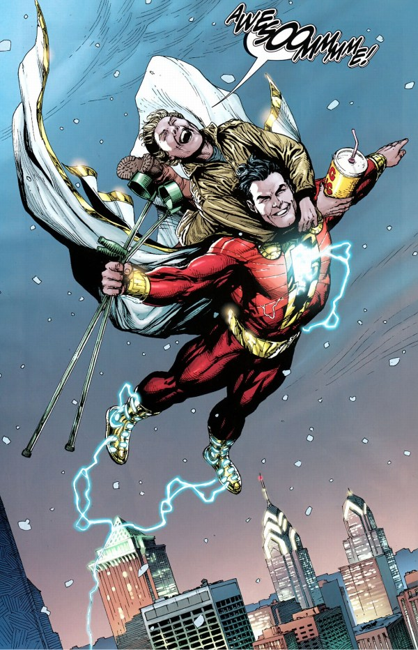 shazam discovers he can fly