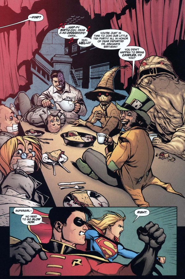 robin and supergirl vs two-face, clayface, scarecrow and the madhatter