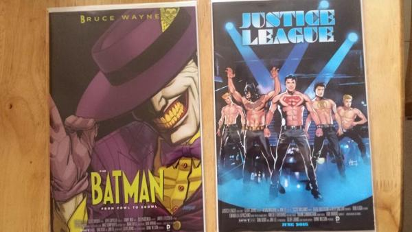 justice league and batman movie cover