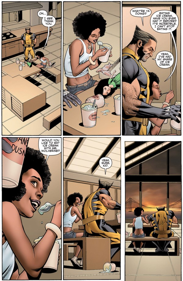 wolverine eats ice cream with oya