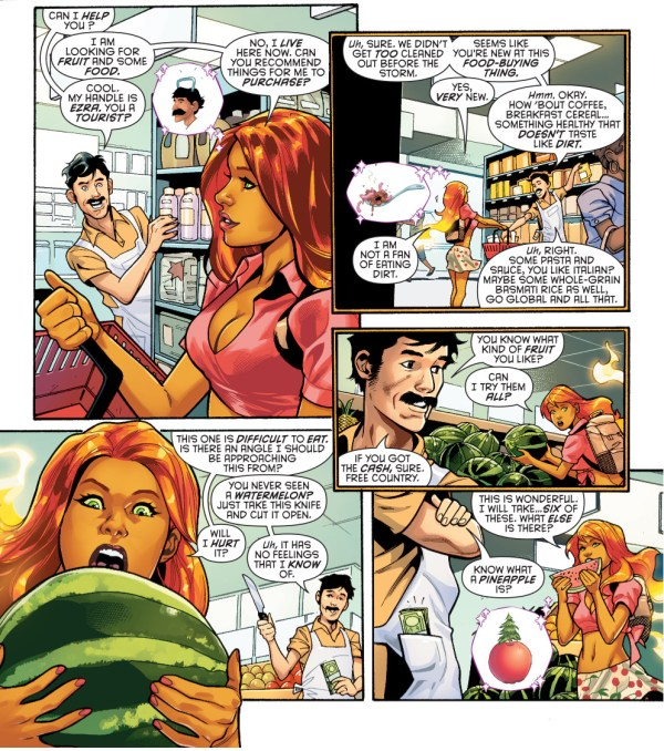 starfire goes shopping for food