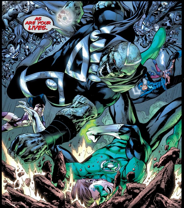 black lantern martian mahuner takes down green lantern