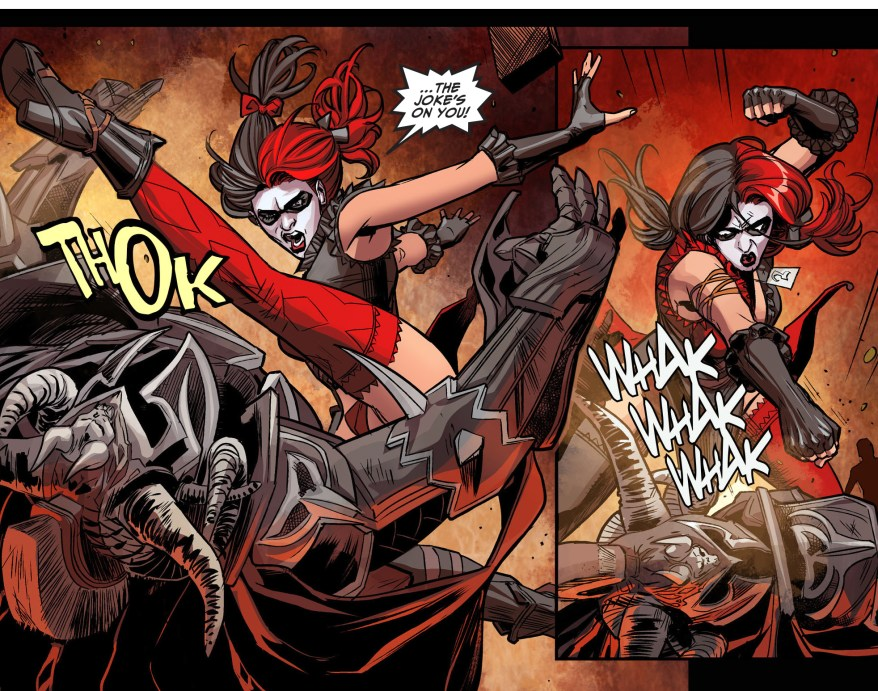 harley quinn vs ares (injustice gods among us)