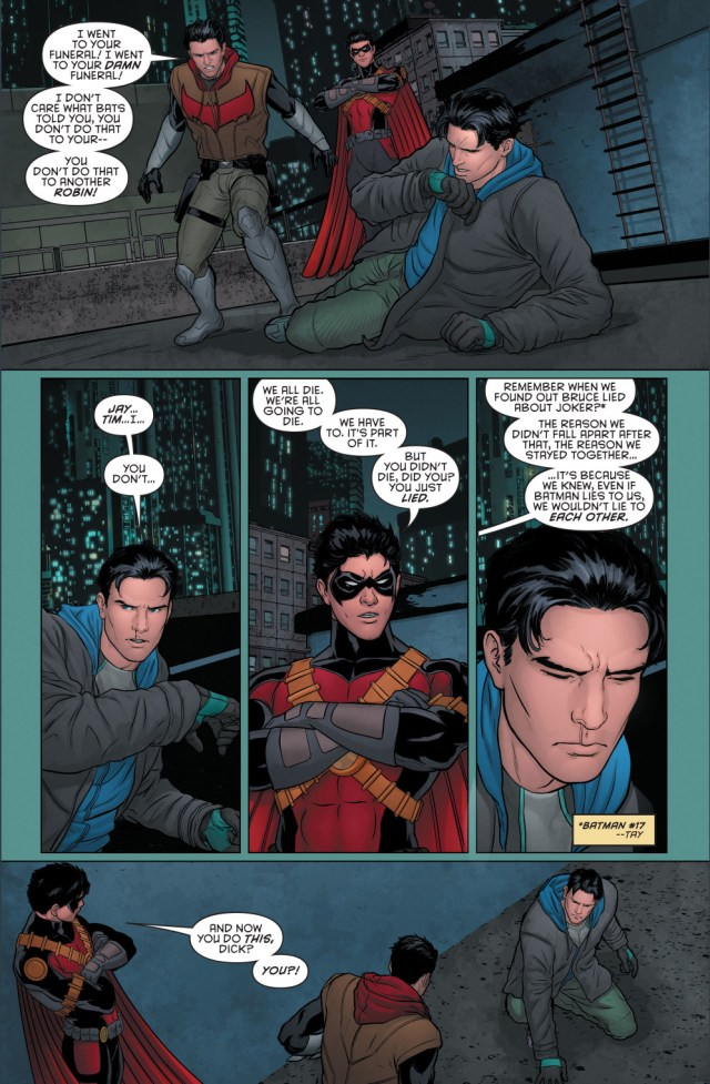 red hood and red robin's reaction to grayson's fake death