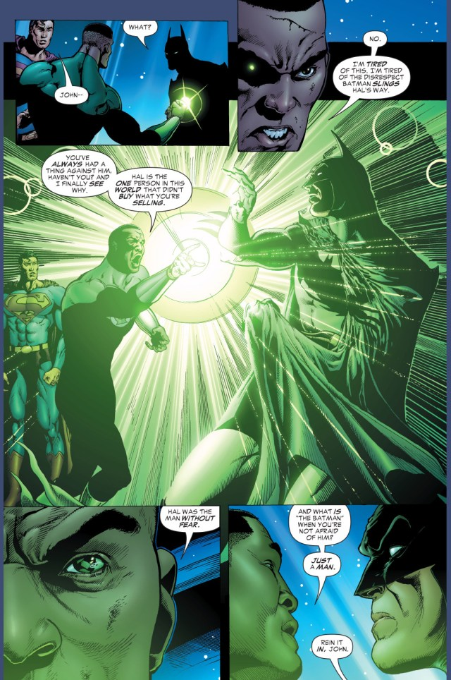 john stewart defends hal jordan from batman