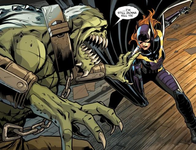 batgirl faces off with killer croc
