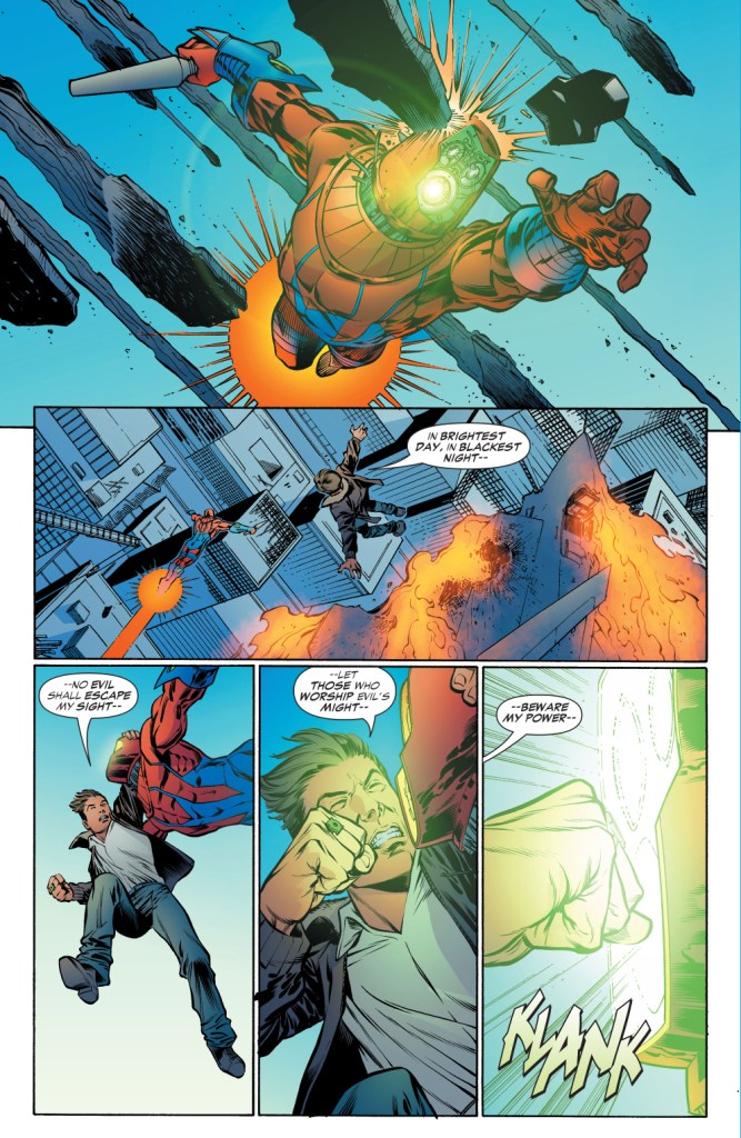 green lantern charges his ring from a manhunter