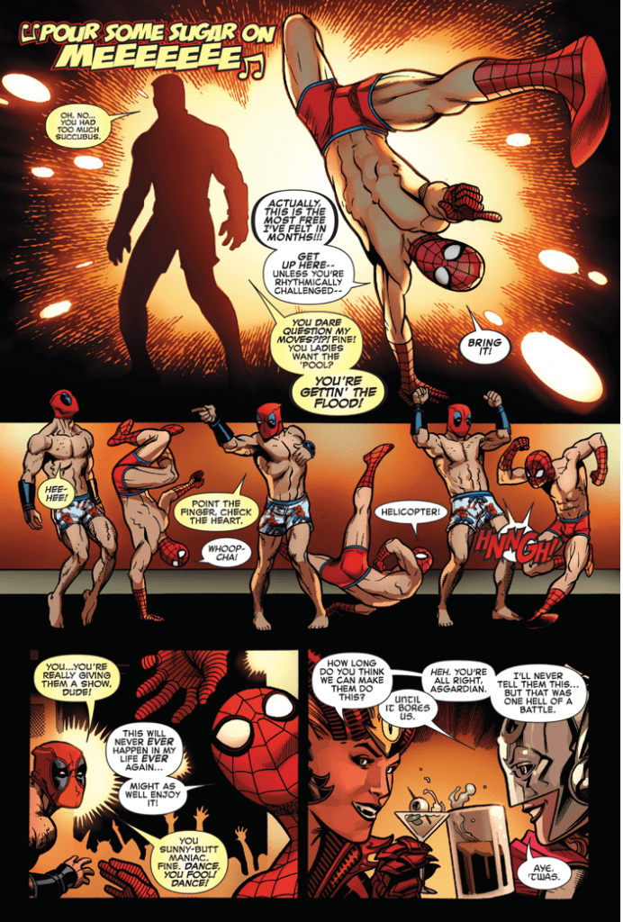 Deadpool And Spider-Man Dancing On Stage