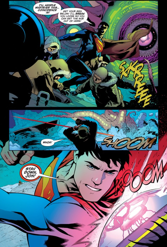 superman coaches his son on heat-vision