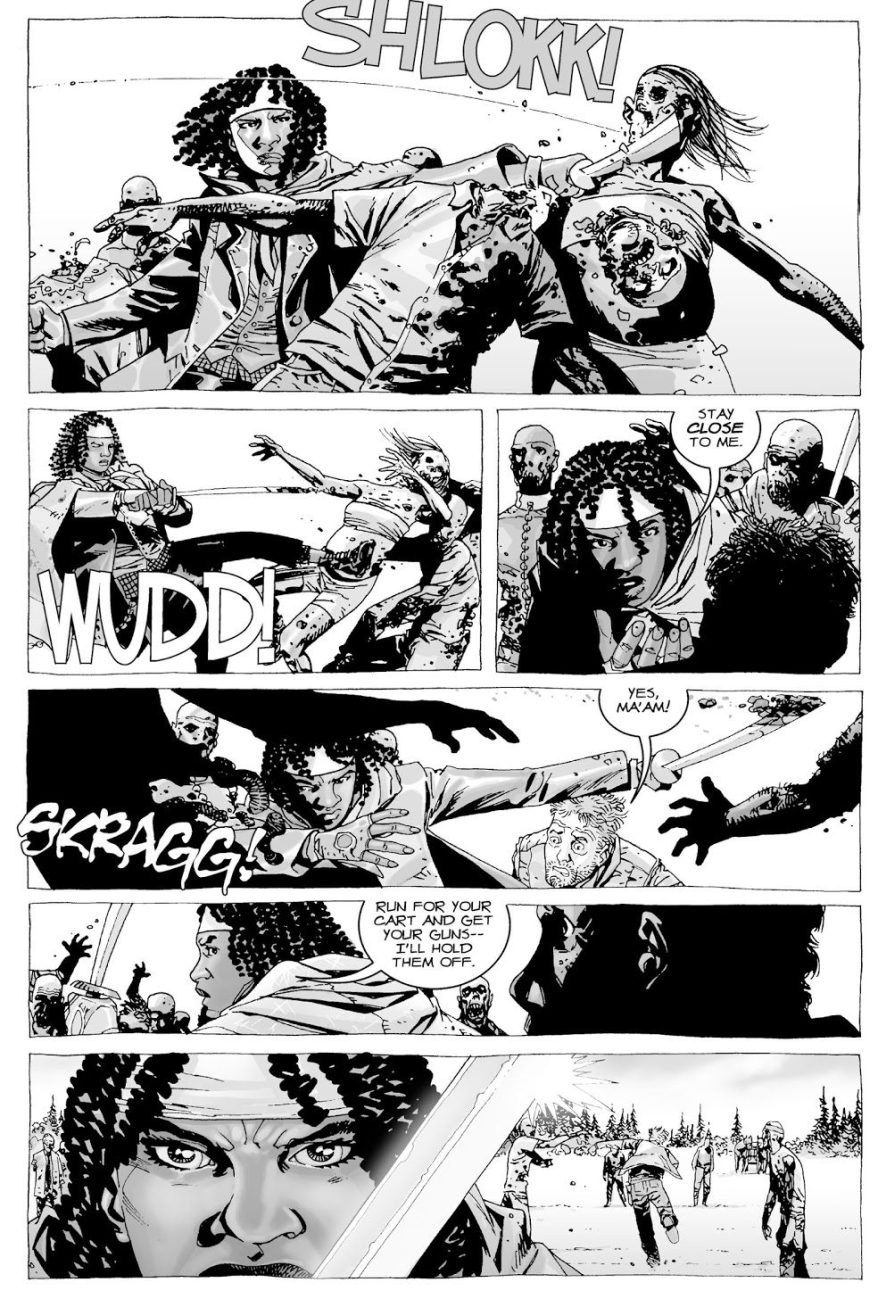 Michonne Joins Rick Grimes' Group