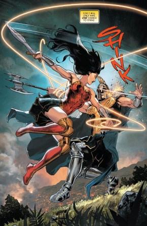 wonder woman uses her lasso on ares (rebirth)
