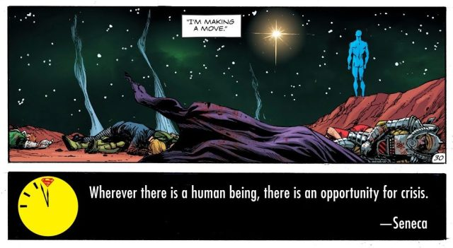 Doctor Manhattan Defeats DC Super Heroes