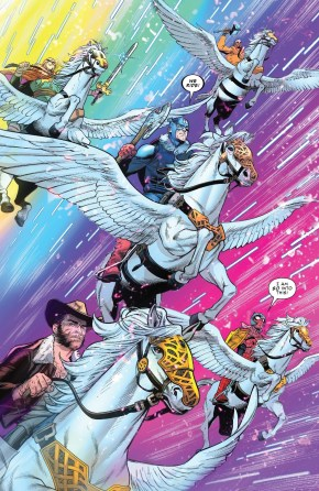 The Avengers Riding Pegasus
