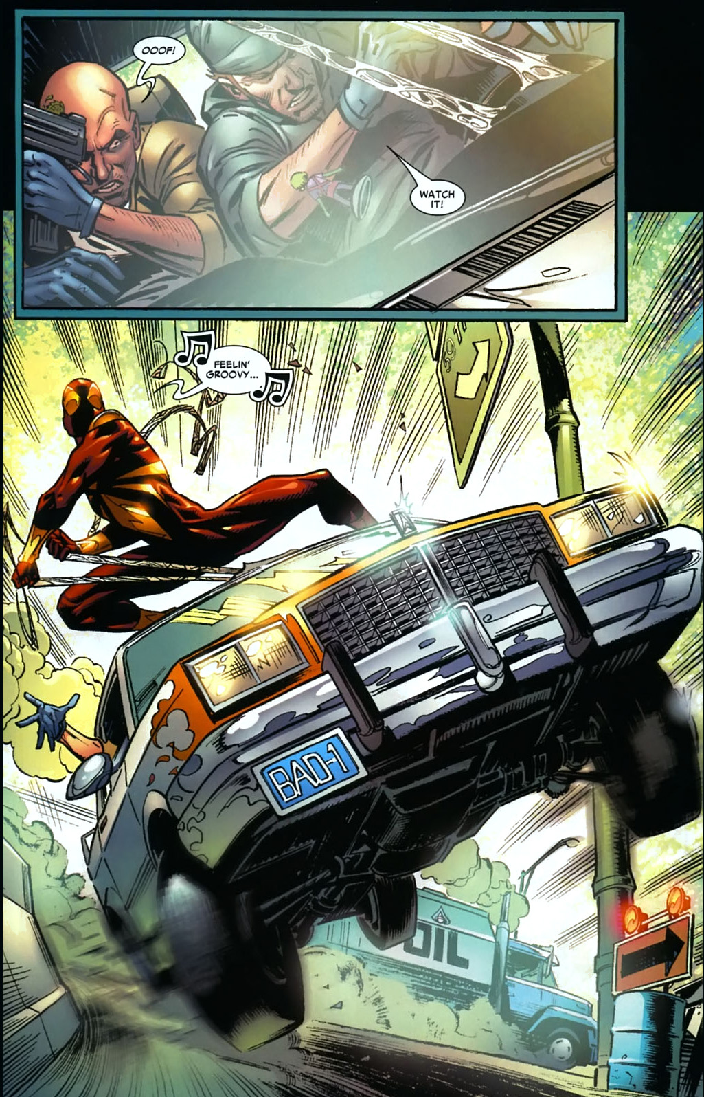 Iron Spidey Stops A Car Chase Comicnewbies