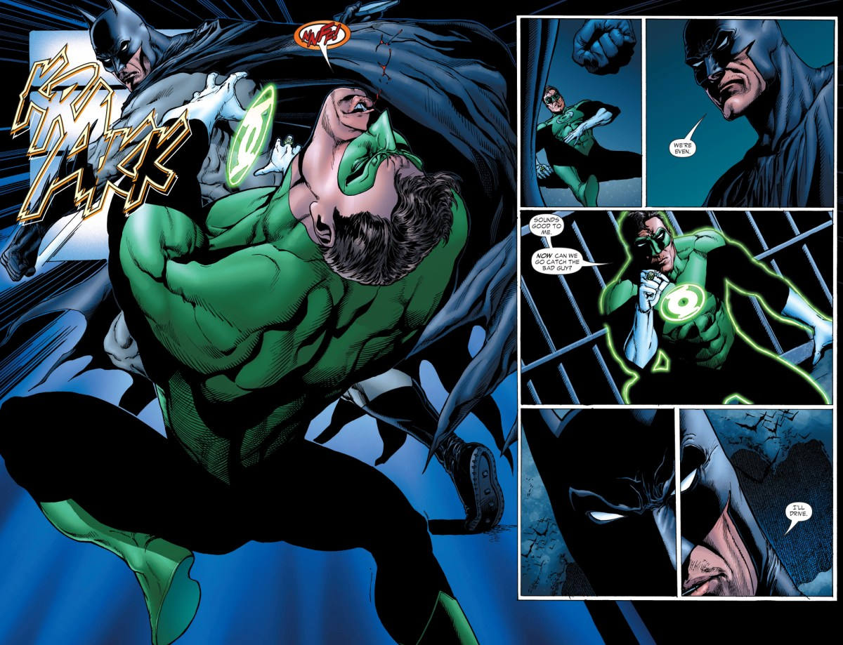Batman Punches Green Lantern Hal Jordan Comicnewbies