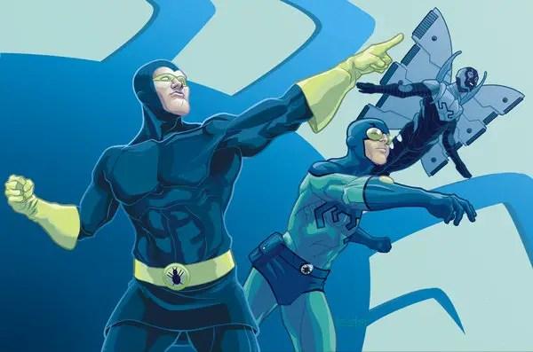 Blue costume superheroes