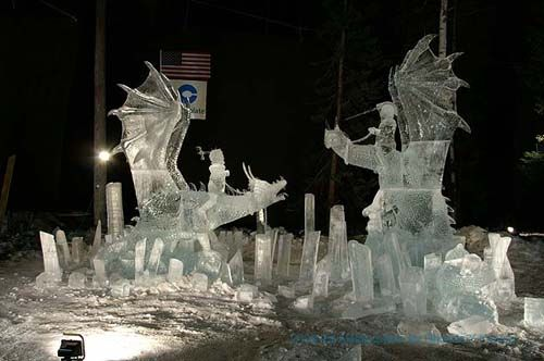 Two ice dragons with riders