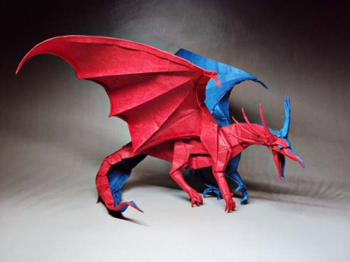 double color origami dragon