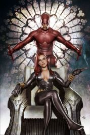 Black Widow painted cover with Daredevil