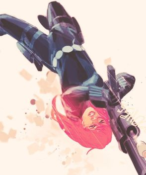 Black Widow firing weapon by Phil Noto