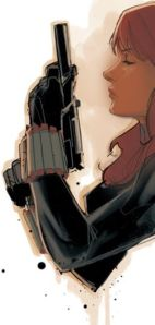 Black Widow with a gun by Phil Noto