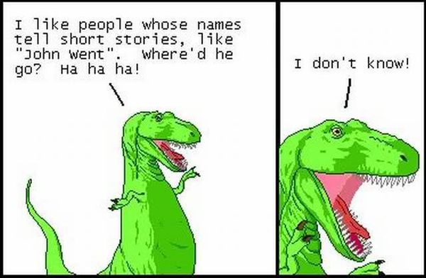 short joke dinosaur john went meme