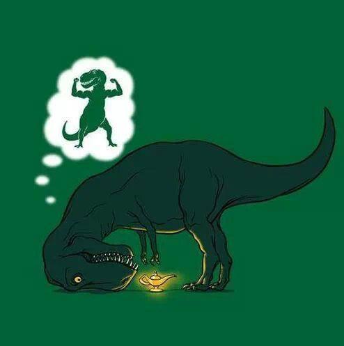 t-rex wishes genie dinosaur meme