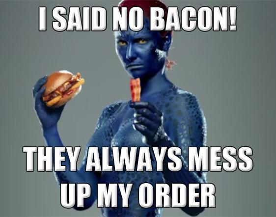 mystique x-men meme commercial bacon