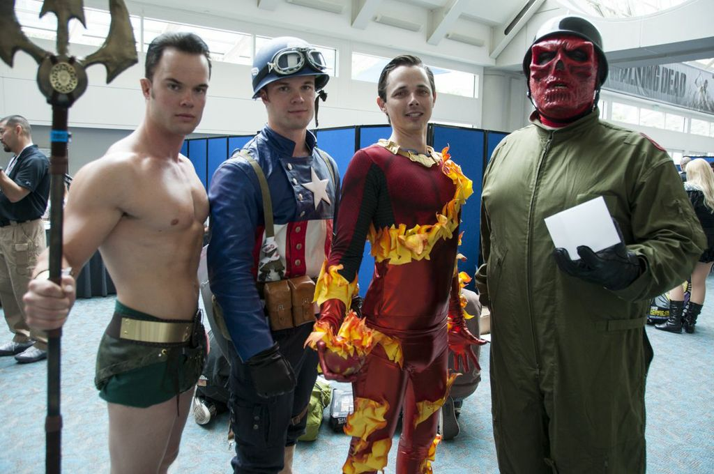 Golden Age Marvel Cosplayers, SDCC2013, San Diego Comic Con, Marvel, Captain America, Red Skull, Namor, Human Torch