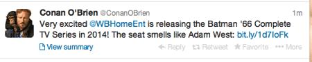 Conan O Brien tweets Batman TV Series coming via WBHE  1