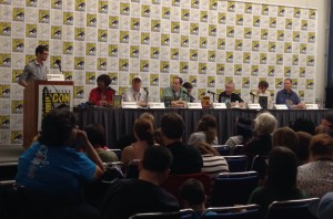 The Middle Grade panel at attention, with Paul Pope slouching in the middle.