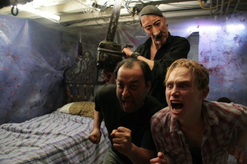 Director Roger Sewhcomar, with Devon Talbott and Charlie Floyd, in DO YOU LIKE MY BASEMENT?
